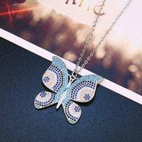 Diseñadores de moda coreano belleza micro incrustado zircon collar de zircon personalidad versátil mariposa cadena de clavícula nkn88