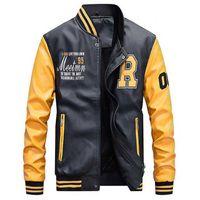 Куртка мужская вышивка бейсбольные куртки PU кожаные пальто Slim Fit College роскошный флис пилотные кожаные куртки Casaco Masculino CX200801