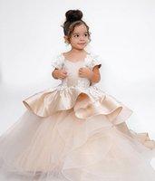 2021 Champagne dentelle robe de billes tutu fleur fille robes de mode tulle élégant Lilttle enfants anniversaire anniversaire weatding robes