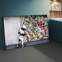 Straße Banksy Graffiti hinter den Vorhang Leinwand Gemälde Cuadros Wandkunstbilder für Wohnkultur (Kein Rahmen)