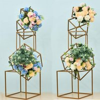 Smidesjärn geometri vägguide blomma stå bröllop bukett hylla rekvisita bord centerpieces artificiell boll dekoration andra heminredning
