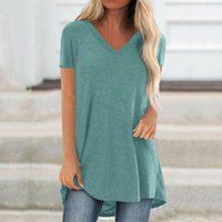Women's T-Shirt Solid Color V-neck Simple Style Long Sleeves Tee Shirt Women Oversized T Vintage Graphic Top Femme
