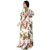 Женщины Boho Wrap летнее Летние платье Праздник Maxi Свободный сарафан Цветочный принт V-образным вырезом с длинным рукавом Elegante Платья коктейль