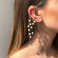 Alloy + Simulated Pearl Ear Cuff Long Tassel Earrings Women's Earring Jewelry E6590