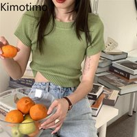 Kimotimo Solid Tees Women Korean Ins Summer Simple O-neck Short Slim Knit Top All-match Pit Short-sleeved T-shirt Fashion Tops Women's