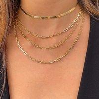 51373 Punk Gold Multilayed Dünne Ketten Halskette Für Frauen Mode Drei Ebenen Schlangenkette Choker Halsketten 2021 Sexy Schmuck
