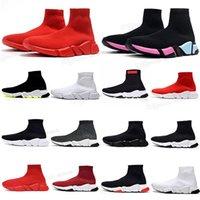2021 سخونة بيع الأصلي باريس أحذية النساء الرجال عارضة جورب 1.0 المشي الأحذية الثلاثي أسود أبيض رويال بيج أحمر سرعة الرباط الجوارب الرياضية أحذية أحذية مدرب 36-45