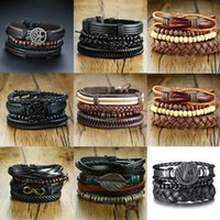 Vnox 4Pcs  Set Braided Wrap Leather Bracelets for Men Vintage Life Tree Rudder Charm Wood Beads Ethnic Tribal Wristbands