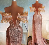 2021 Plus Size Arabic Aso Ebi Gold Luxurious Sequined Prom Dresses Sheer Neck Beaded Crystals Evening Formal Party Second Reception Gowns Dress ZJ266