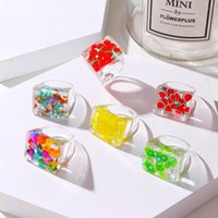 Colorful Transparent Acrylic Rhinestone Resin Set Ring Geometry Open Rings for Women Girls Party Jewelry