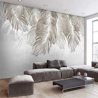 Beibehang пользовательские обои 3D фото росписи Papeel de Parede Nordic стиль стены простой и элегантной настенной росписи перо 3d обои
