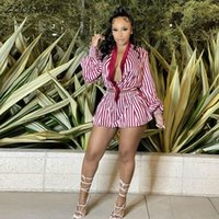 Women's Tracksuits ZOOEFFBB Striped Sexy Two Piece Set Fall Women Long Sleeve V-neck T Shirt And Loose Shorts Casual Clubwear Rave Matching