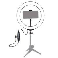 LED Anel Luz RGB Colorido Dimmable USB para vídeo ao vivo 13 polegadas / 33cm com clipe de telefone flashes