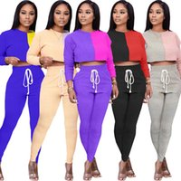 Fall Winter womens 2 two piece clothing fashion patchwork tracksuits crop tops trousers outfits set sportswear jogging suit clothes