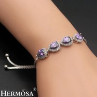 Link, Chain HERMOSA Jewelry NaturalAmethyst Adjustable Pull Tie Bracelet 3-11 Inch For Womens Girls