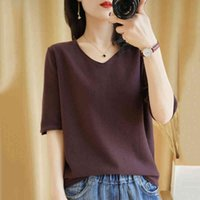T-shirt Women 2021 New Summer Pure Cotton Knitted Sweater Half Sleeve Casual Plus Size Tops V-neck Pullover Tees