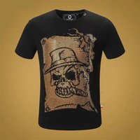 Starbags PP Couleur chaude Diamant Head Homme Hommes Mouw Court Mouw T-shirt Popular Hot Stamping Lock Rue Impression simple Casual