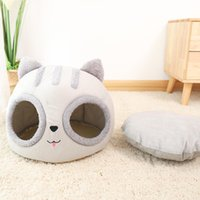 Cat Beds & Furniture Plush House Bed Head Style Deep Sleep For Cats Dogs Soft Warm Kitty Puppy Nest Basket With Mat Pet Accessories