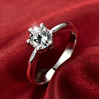 S925 Sterling Silver Rings Six Claw Zircon Inlaid Ring Women's Engagement Wedding Ring