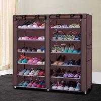 Double fila de seis capas porta rack moderno simple simple no tejido zapato engrosado desmontaje rodando cortina de almacenamiento gabinete grande capacidad