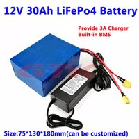 GTK Lifepo4 12v 30ah lithium battery pack XT90 plug for electric motorcycle 12v golf trolley + 14.6V 5A Charger
