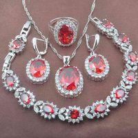 Bridal jewelry Red Zirconia Women's Wedding Jewelry Set Bracelet Silver Color Necklace Pendant Earrings Ring YZ0462