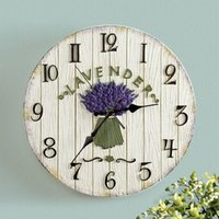벽시계 10 인치 유럽 목가적 인 시계 거실 패션 창조적 인 빛 럭셔리 라벤더 장미 침묵 테이블 홈 장식