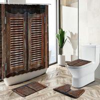 Shower Curtains 3D Antique Old Wooden Door Curtain Retro Country Farmhouse Barn Bathroom Decor Non-Slip Rug Bath Mat Toilet Lid Cover Set