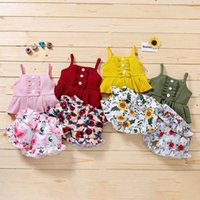 Infant Clothing Sets Girls Outfits Baby Clothes Kids Wear Summer Cotton Tank Tops Flower Printed Shorts 2Pcs B6202
