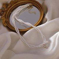 Corée du Sud Fashion Esthetic Pearl Collier Collier Collier Mignon Double Couche Chaîne Cristal Pendentif pour femme Bijoux Cadeaux Cadeaux