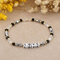 Charm Bracelets 2021 Romantic & Bangles Candy Color Crystal LOVE Letter Beaded Bracelet Pulseras Fashion Jewelry For Women Armband