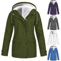 Women's Trench Coats Fashion Women Hooded Jacket Windproof Fleece Autumn Winter Ladies Warm Windbreaker Outdoor Hiking Clothes