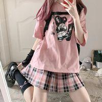 Women's T-Shirt Summer Streetwear Pink Punk Big Size Harajuku Cute Cartoon Tshirt Unisex Cool Hip Hop T Shirt Top Tees Female