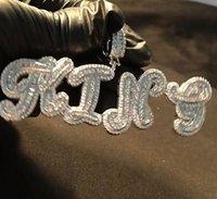 Custom Name A- Z Baguette Style Cursive Letters Pendant For Men Women Gifts Cubic Zirconia Necklace Hip Hop Jewelry