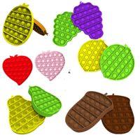 푸시 팝 거품 감각 장난감 파인애플 배 복숭아 과일 모양 Fidget 장난감 quishy 스트레스 릴리버 파티 선물 테이블 게임 완구 G12501