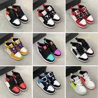 Infantes 1s 1 niños pequeños zapatos de baloncesto Pino Green Game Royal Scotts Obsidian Chicago BRED Sneakers Multicolor Tie-Dye Tamaño 25-35