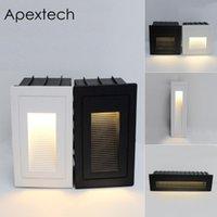 مصابيح الجدار في الهواء الطلق Apextech LED Step Lights المضمنة الطوابق المثبتة مسار ساحة الفناء درج ضوء راحة الممر مصباح أبيض أسود