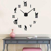 Horloges murales 3D Creative Cat Diy Clock Autocollants Miroir Autocollants d'art amovible Autocollant de décoration Accueil Décor Salon Salon Quartz Aiguille