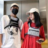 Streetwear Hip Hop Çantası Unisex Siyah Yansıtıcı Göğüs Rig Çanta Taktik Yelek Naylon Moda Çanta Kadınlar Bel Paketleri