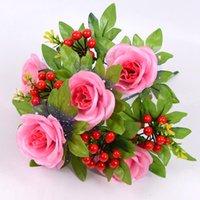 Buket Kırmızı Berry Ile 6 Kafaları Yapay Gül Çiçekler Kamelya İpek Sahte Çiçek DIY Ev Bahçe Düğün Dekorasyon Dekoratif Çelenkler için