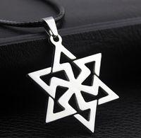 Mode mannen en vrouwen roestvrijstalen persoonlijkheid hexagram hanger titanium sieraden vrije keuze kraal ketting lederen touw cross chain