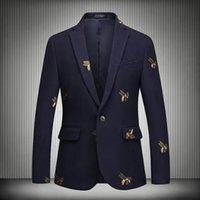 Men's Suits & Blazers Viankani men's fashions Winter luxury bee embroidered woolen blazer prom wedding singers blazers dress M-6XL