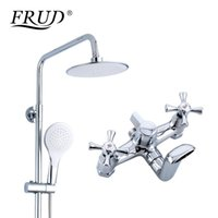 Set Bathroom Rainfall Shower Faucet Duble Handle Mixer Tap With Hand Sprayer Wall Mounted Bath R24732 Sets