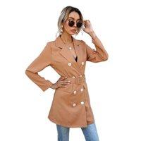 Abiti da donna Blazer 2021 Summer Blusa Bavero Lungo doppio petto pulsante a maniche lunghe piccola giacca giacca donna donna Blazer S-2XL