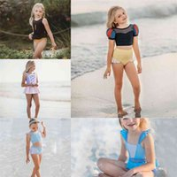 90-140CM girls two piece swimwear kids swimsuit princess style beachwear crop vest tops and shorts mini skirt swim beach clothing set color matching G609WAN
