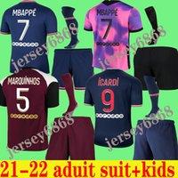 Mbappe Key Soccer Jersey 21 22 Maillots de Football Shirts 2021 2022 Marquinhos Verratti Kimpembe Uomo Set per bambini Set di uniformi Infants Quarto Kit adulti con calzini