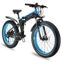 Mountain bike elettrico 1000w pieghevole a 27 velocità grasso pneumatico pieghevole pieghevole parafango e telaio piena sospensione