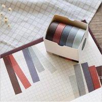 Ruban adhésif Alimentation Sticker Cool Sticker 5pcs / Set 10mm * 5M Colorie solide Ruban de papier Solide DIY Scrapbook décoratif Office 2016 HWF9143