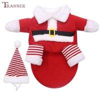 Köpek Giyim Transer Komik Noel Santa Cosplay Kostüm Yumuşak Kadife Pet Coat ile Şapka Golden Retriever Küçük Büyük Giysiler 209