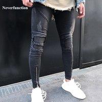 Jeans Neverfunction Uomo Pieghettato Biker Skinny Biker Homme Hip Hop Denim Joggers strappato Streetwear Moto Slim Fit